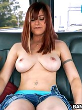 Biggest tit redhead begs for anal threesome