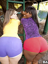 Pleasure and Roxi. These two ladies have retarded size fat asses