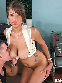 Breasty amateur receives a creampie