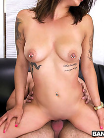 Tattooed Lalin girl copulates hard for a load